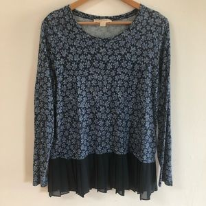 Michael Kors Blue Long Sleeve Pleated Shirt XL